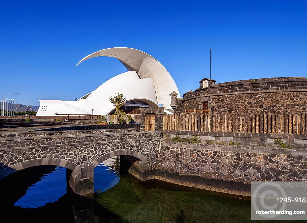Castle of San Juan Bautista and Auditorium Adan Martin, Santa Cruz de Tenerife, Tenerife Island, Canary Islands, Spain, Europe