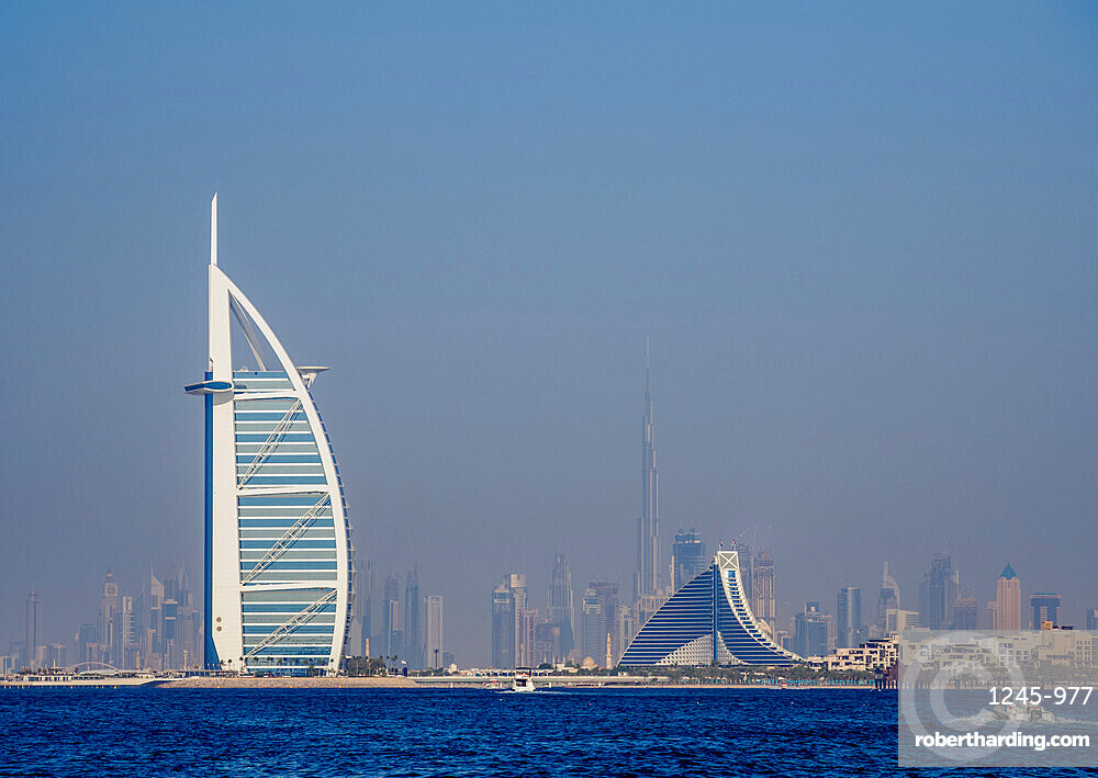 Burj Al Arab and Jumeirah Beach Hotels, Dubai, United Arab Emirates, Middle East