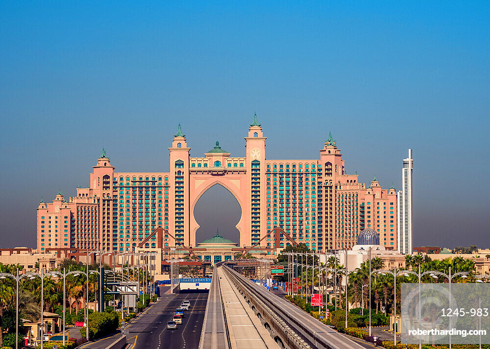 Monorail to Atlantis The Palm Luxury Hotel, Palm Jumeirah artificial island, Dubai, United Arab Emirates, Middle East