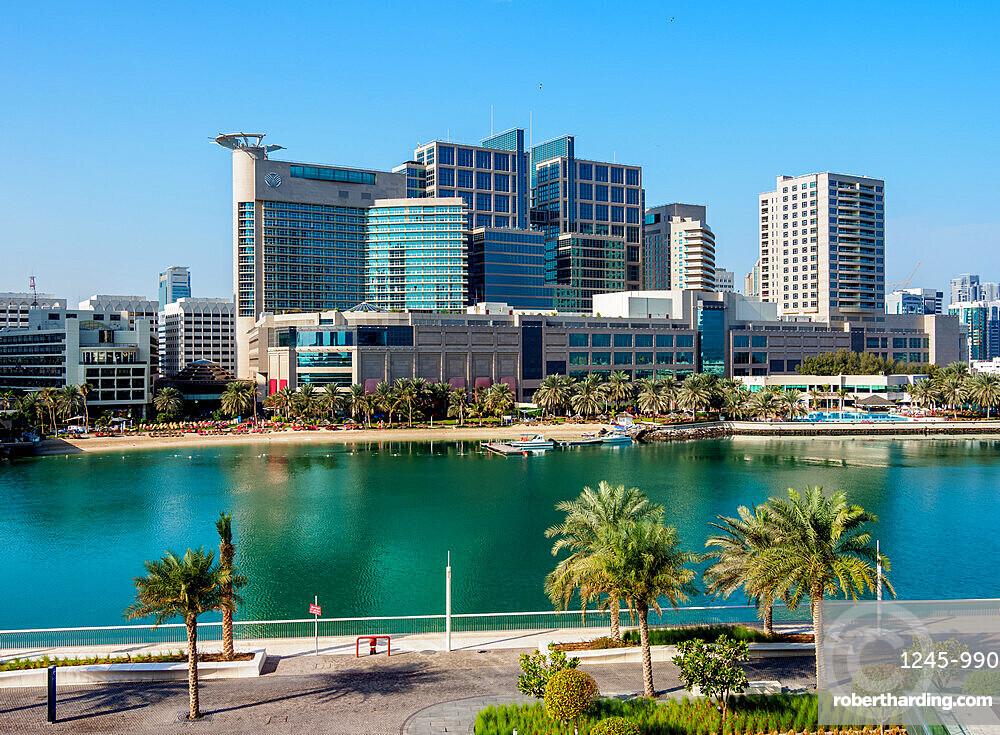 Abu Dhabi Mall and Rotana Beach Hotel seen from Al Maryah Island, Abu Dhabi, United Arab Emirates, Middle East