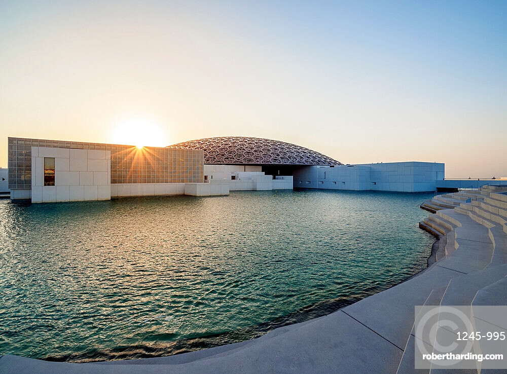 Louvre Museum at sunset, Abu Dhabi, United Arab Emirates, Middle East