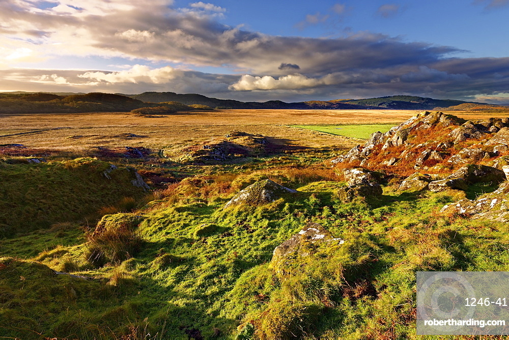 A winter view looking across Moine Mhor Nature Reserve from Dunadd Fort in the Scottish Highlands, Argyll, Scotland, United Kingdom, Europe
