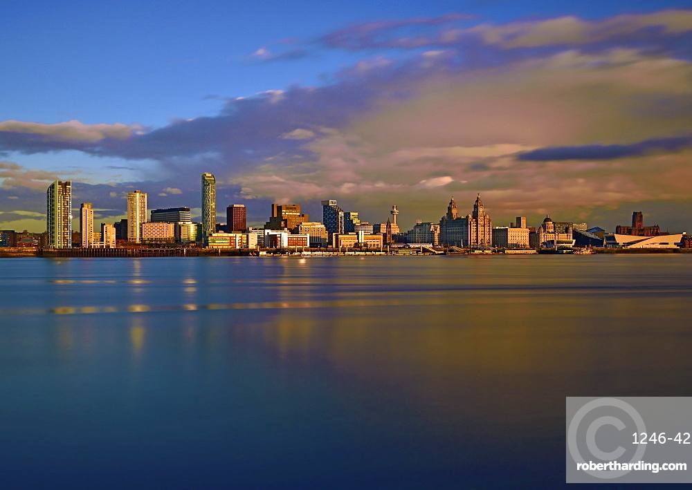 An evening view looking across the River Mersey of Liverpool Waterfront, Liverpool, Merseyside, England, United Kingdom, Europe