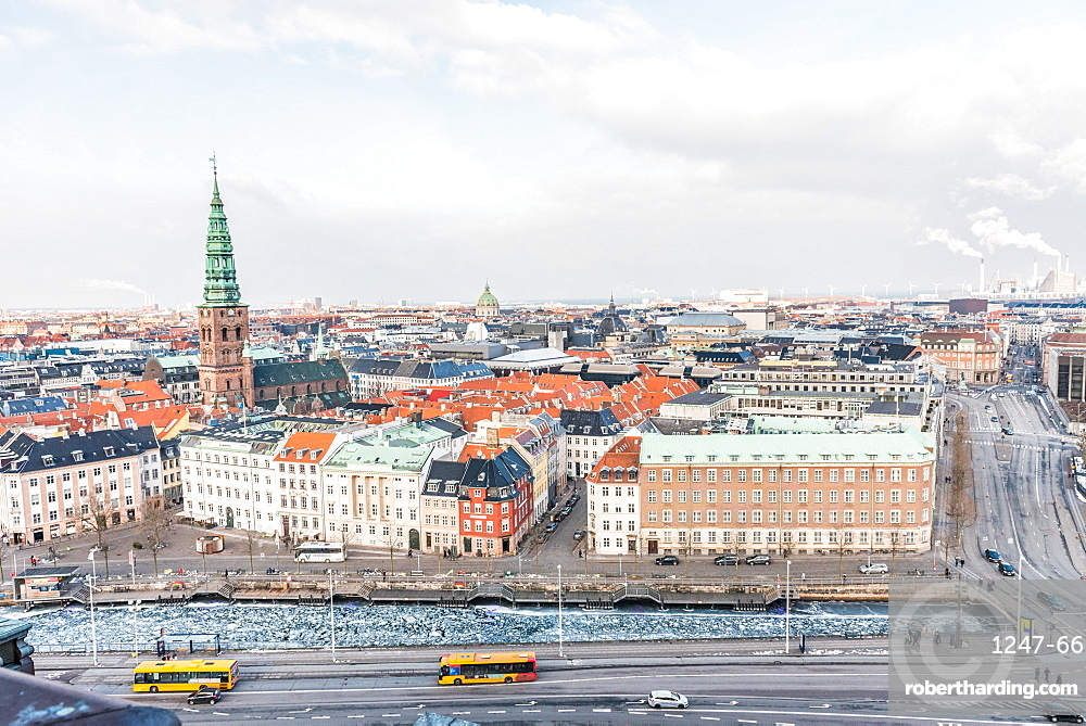 Elevated view of Copenhagen, Denmark, Scandinavia, Europe