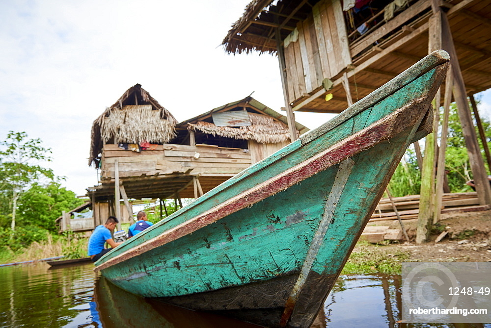 Low angle shot of Riverboat in Nanay River, near Iquitos, Peru, South America