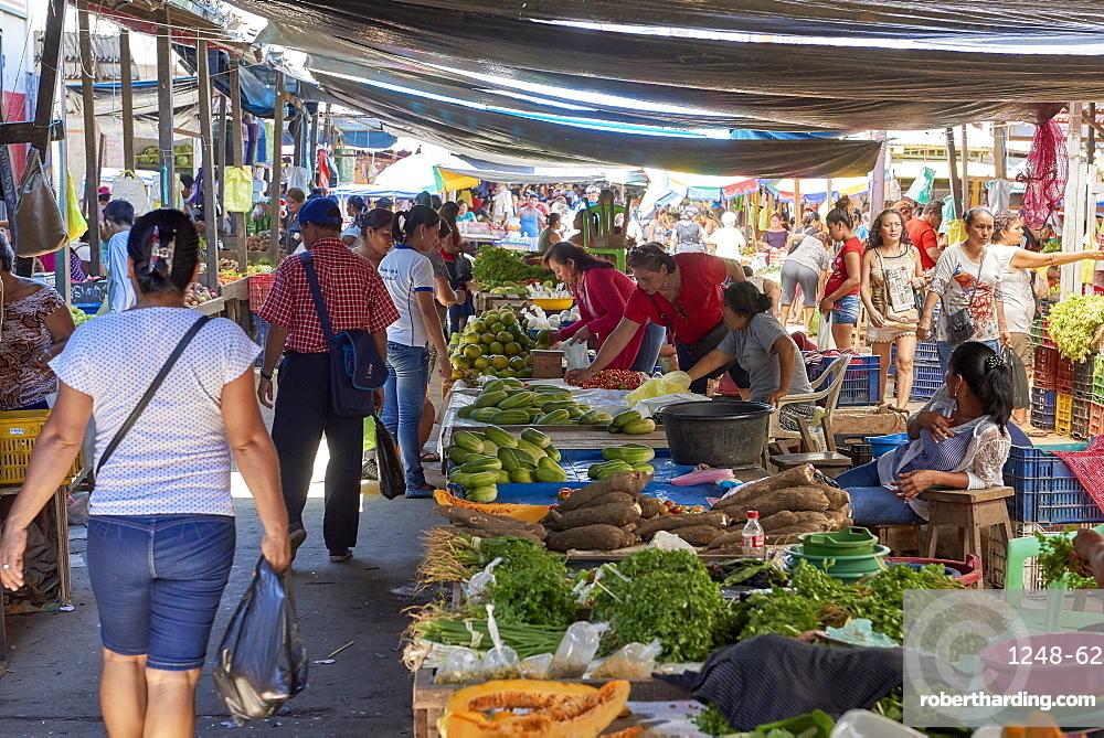 Food stalls in Belem Market, in Iquitos, Peru, South America