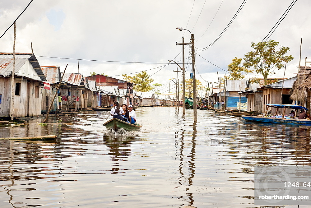 Wooden houses in flooded area of Belem, Iquitos, Peru, South America