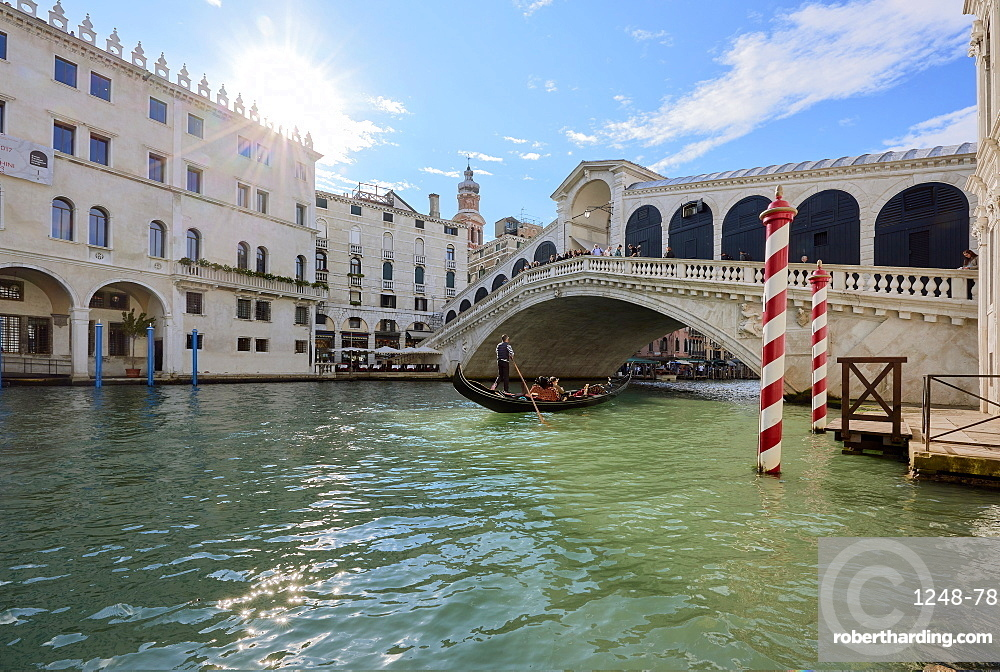 A gondolier rowing under Rialto Bridge in Venice, UNESCO World Heritage Site, Veneto, Italy, Europe