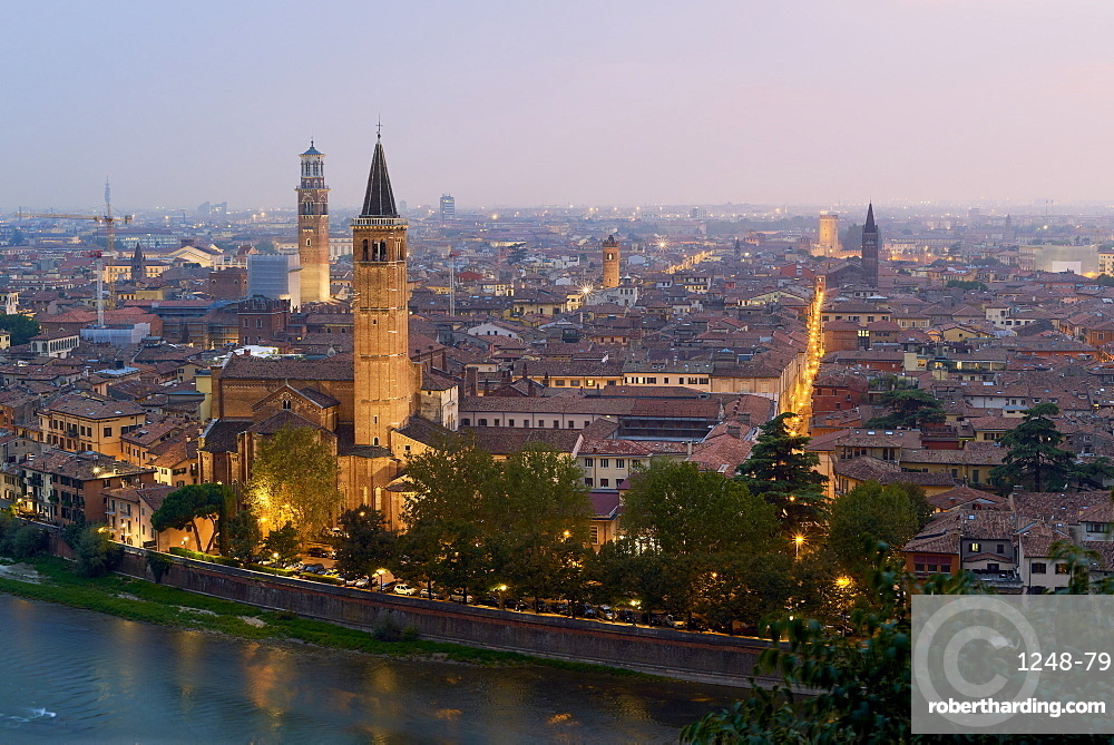 Cityscape at dusk seen from Castel San Pietro, Verona, Veneto, Italy, Europe