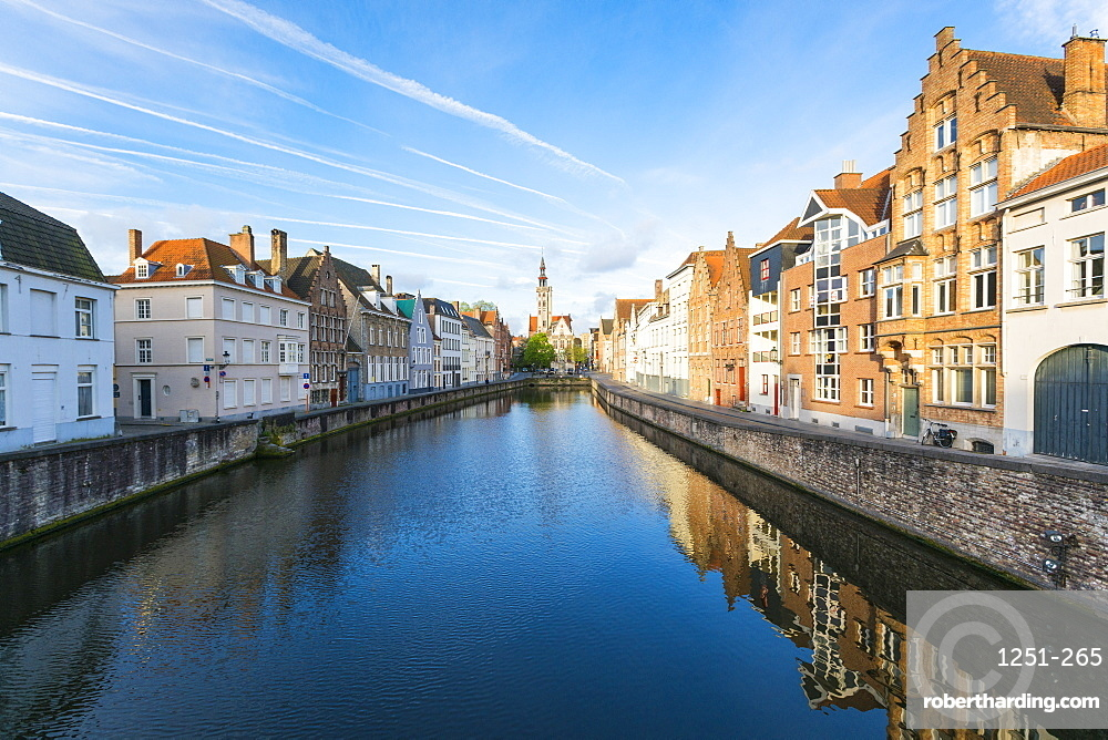 Houses and belfry on canal, Bruges, West Flanders province, Flemish region, Belgium, Europe