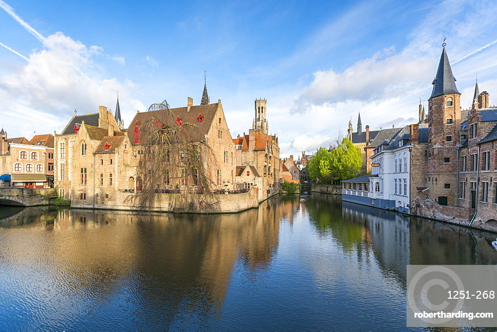 Houses and belfry reflected in the Dijver canal, Bruges, West Flanders province, Flemish region, Belgium, Europe
