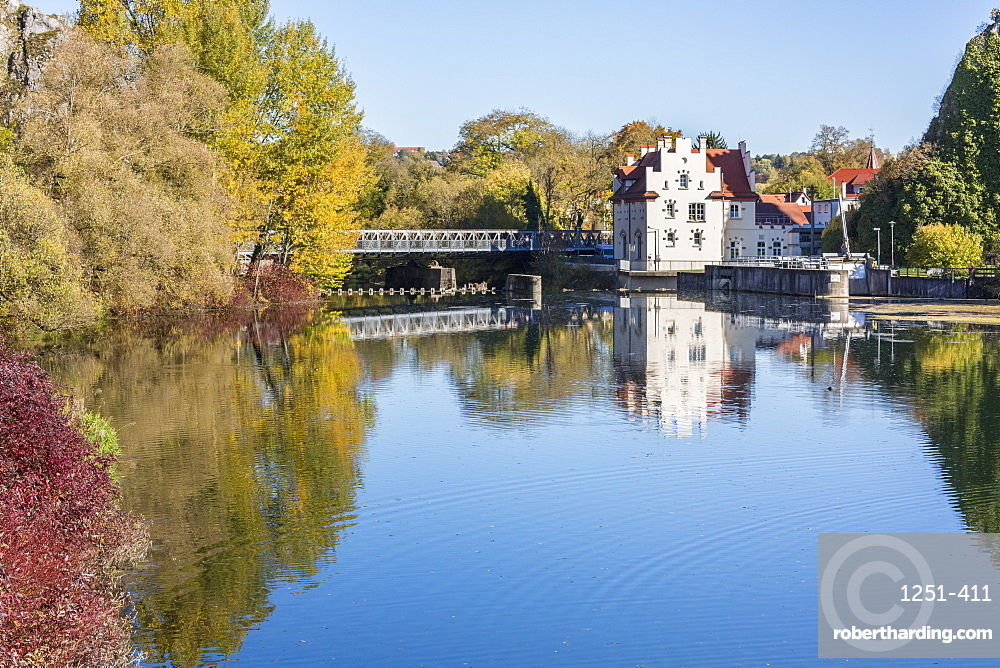 Part of Sigmaringen castle reflecting in the Danube River, Sigmaringen, Baden-Wurttemberg, Germany, Europe