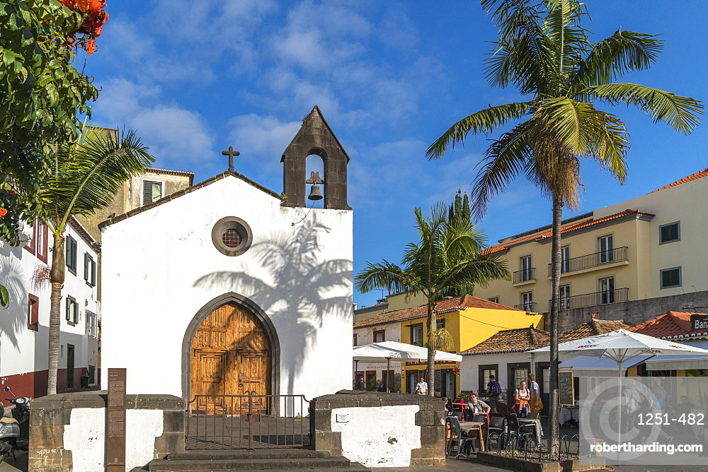 The facade of Corpo Santo Chapel in the Old Town. Funchal, Madeira region, Portugal.