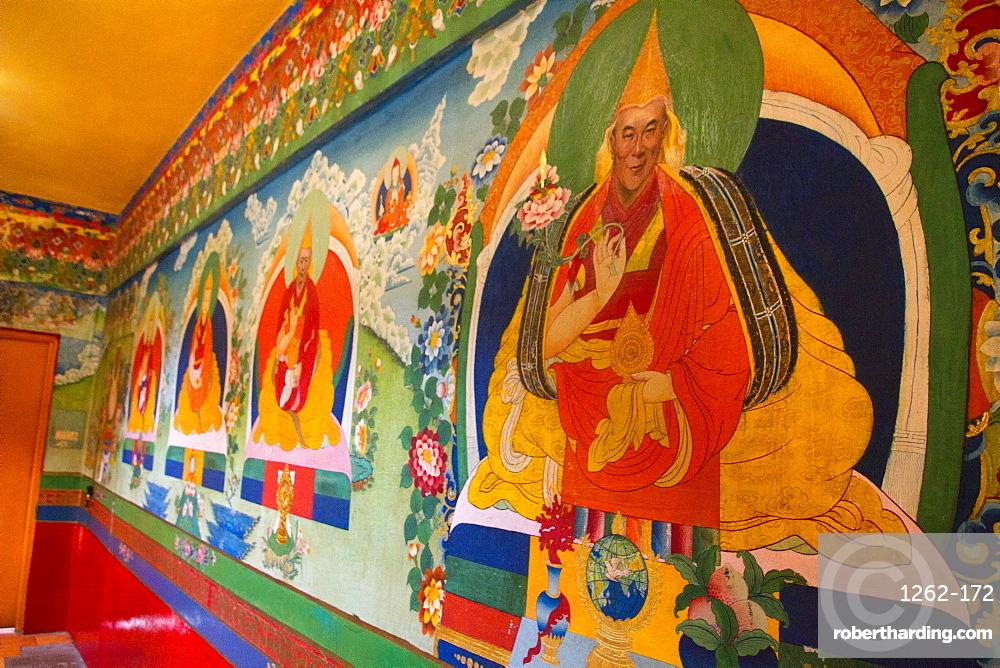 Dalai Lama painting, the Norbulingka Tibetan Institute of Tibetan Arts and Culture, Dharamsala, Himachal Pradesh, India, Asia
