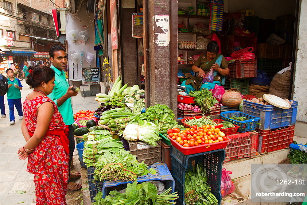 Vegetables for sale on the streets of Thamel, the tourist area of Kathmandu, Nepal, Asia