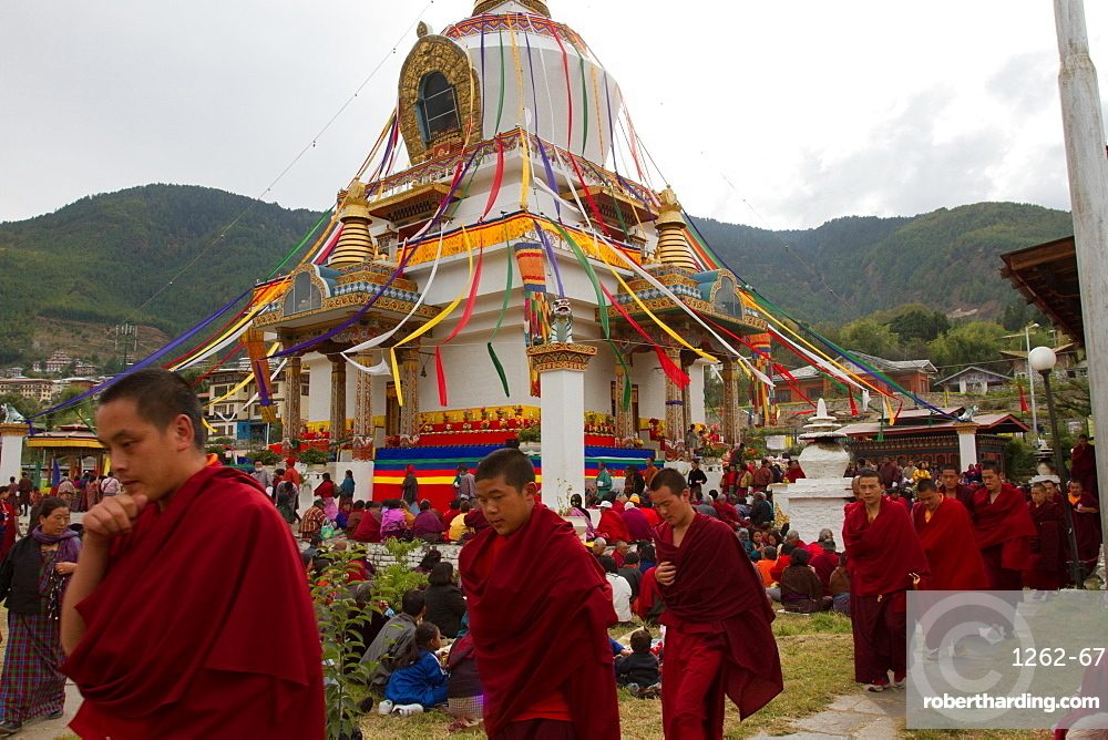 The Memorial Stupa and Buddhist devotees, Thimphu, Bhutan