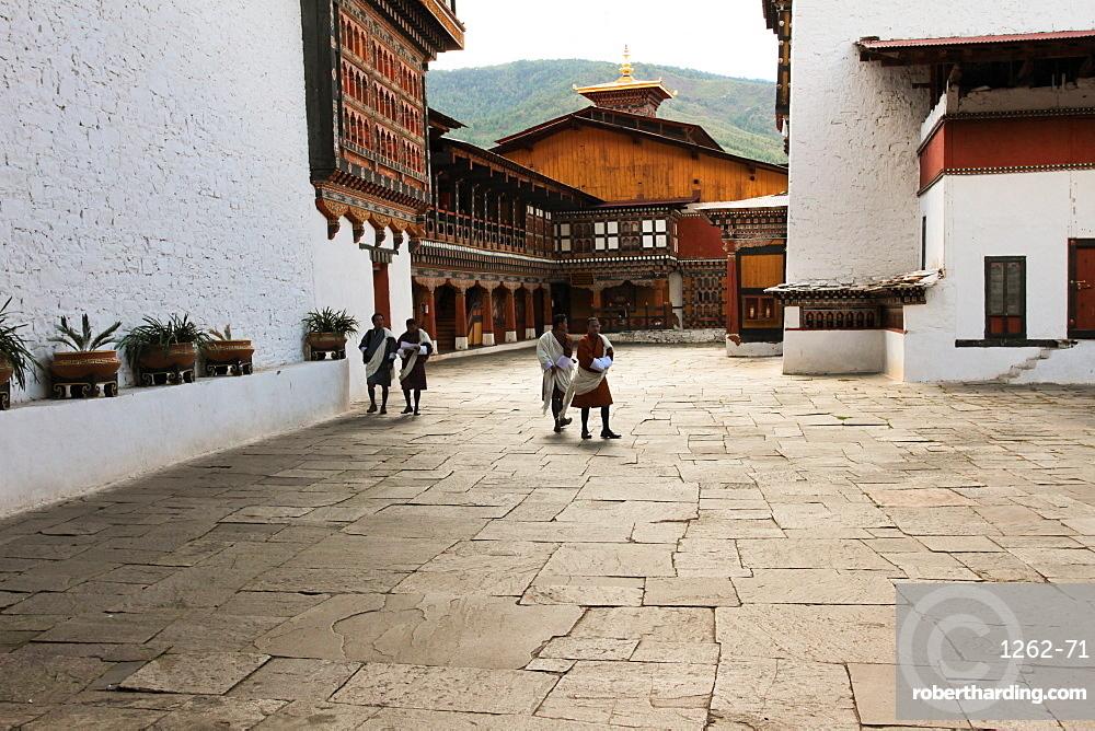 Rinpung Dzong Fortress Monastery courtyard, Paro, Bhutan, Asia