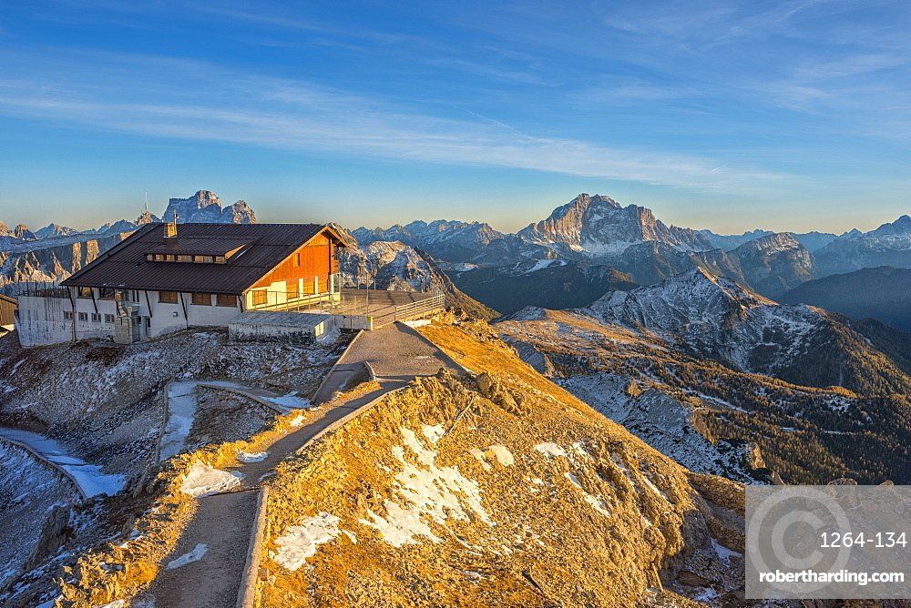Lagazuoi mountain hut at sunset, Dolomites, Veneto, Italy, Europe