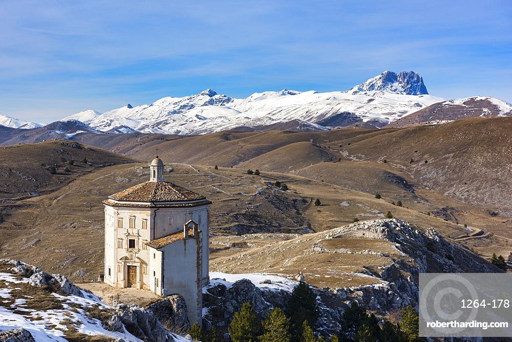 Santa Maria della Pieta church and Corno Grande in winter, Gran Sasso e Monti della Laga National Park, Abruzzo, Italy, Europe