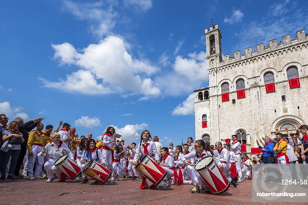 Band in Signoria Square (Piazza Grande) during Ceri Festival, Gubbio, Umbria, Italy, Europe