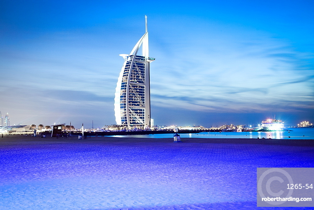 Burj Al Arab at night, Dubai, United Arab Emirates, Middle East