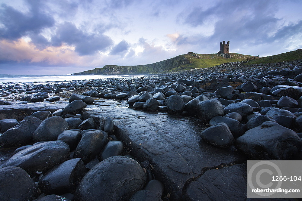 The ruins of Dunstanburgh Castle from close to Embleton, Northumberland, England, United Kingdom, Europe