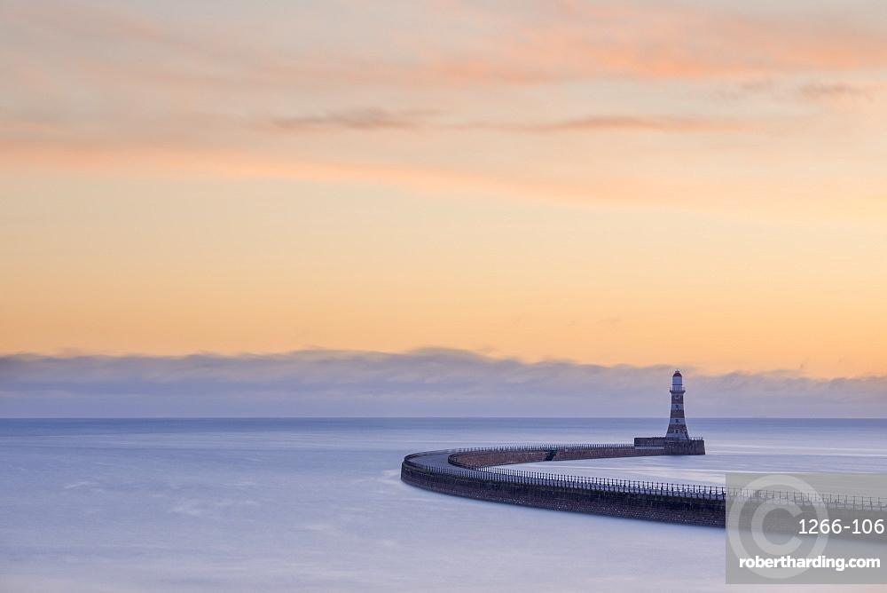 Roker pier and lighthouse at sunrise, Roker, Sunderland, Tyne & Wear