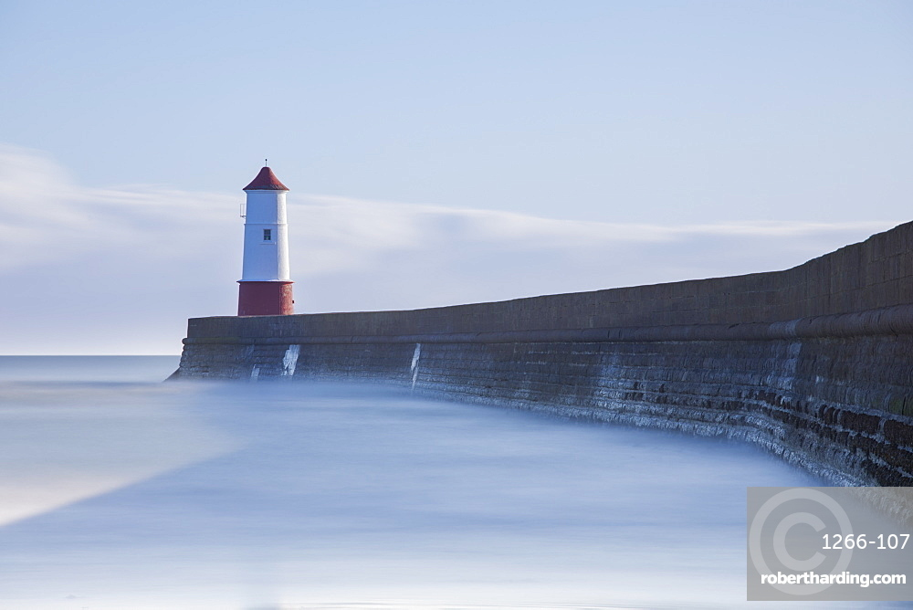 Spittal lighthouse and pier at Spittal, Berwick-upon-Tweed, Northumberland, England, United Kingdom, Europe