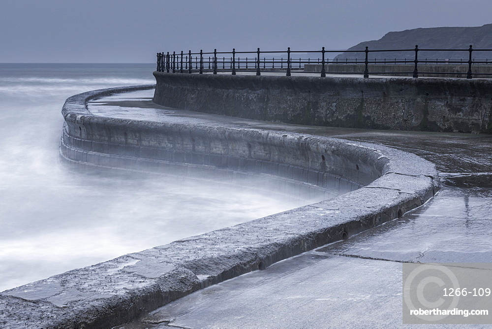 Long exposure showing part of the sea wall at Scarborough, North Yorkshire, Yorkshire, England, United Kingdom, Europe