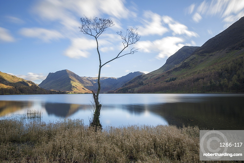 View over Buttermere to Fleetwith Pike in autumn, Lake District National Park, UNESCO World Heritage Site, Cumbria, England, United Kingdom, Europe