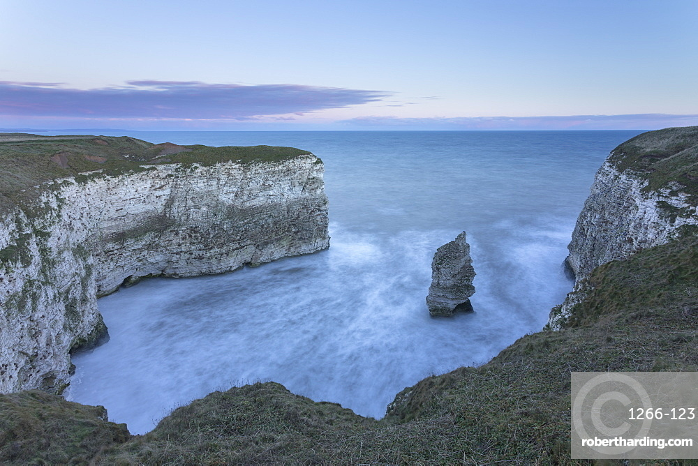 White Cliffs and small bay at sunrise in winter, Flamborough, East Yorkshire, Yorkshire, England, United Kingdom, Europe