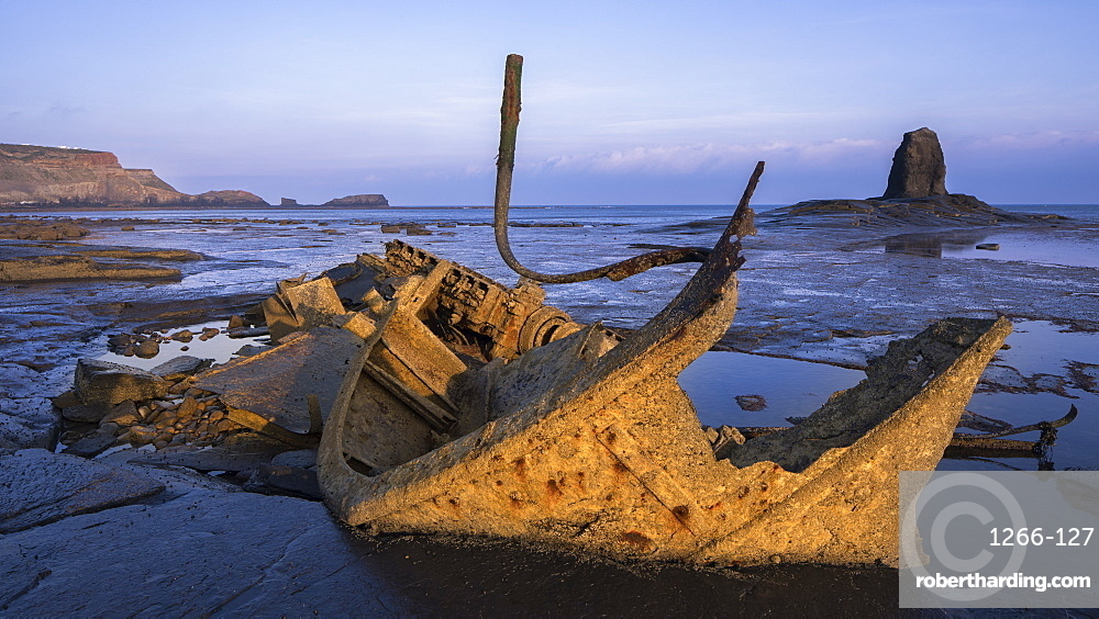 Wreckage and remains of the Admiral Van Tromp and Black Nab sea stack at Saltwick Bay, Whitby, North Yorkshire, Yorkshire, England, United Kingdom, Europe