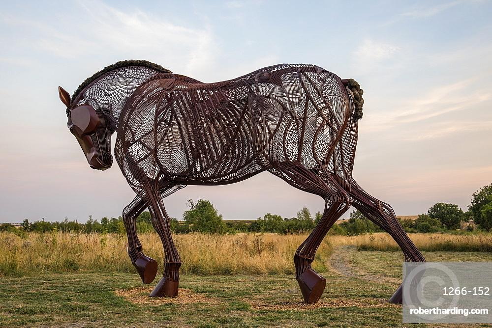 War Horse war memorial sculpture at Castleford near Wakefield, West Yorkshire, Yorkshire, England, United Kingdom, Europe