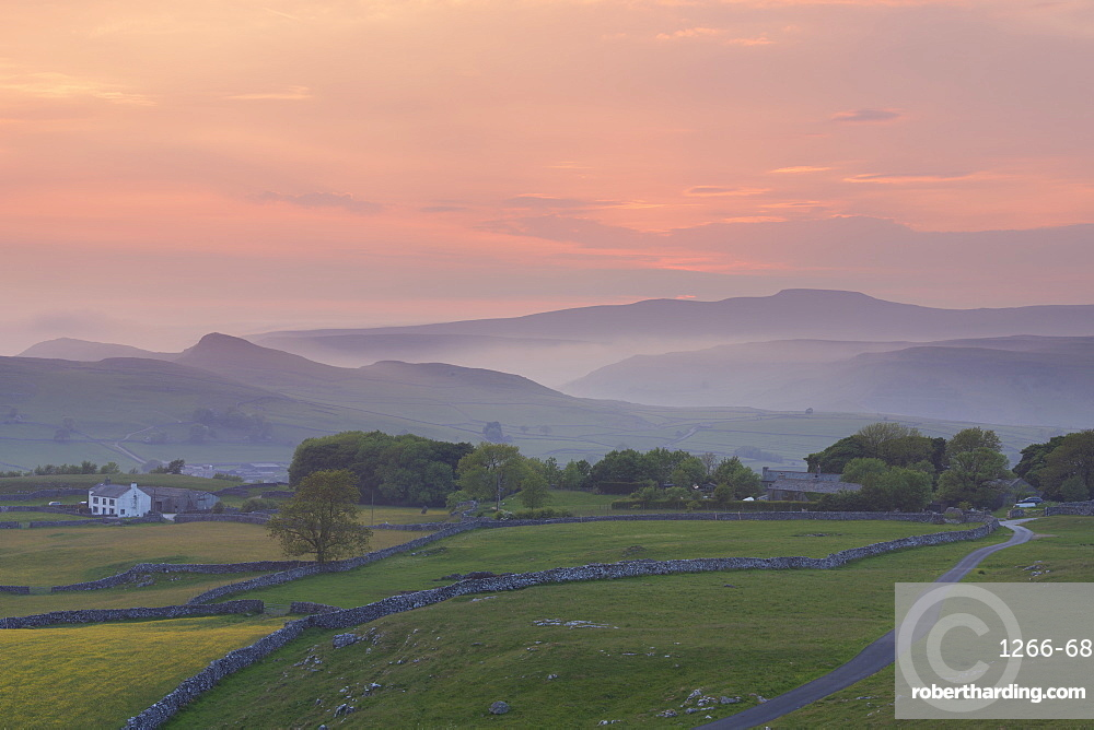 Ingleborough and Smearsett Scar from Winskill Stones Nature Reserve at sunset, Ribblesdale, Yorkshire Dales, Yorkshire, England, United Kingdom, Europe