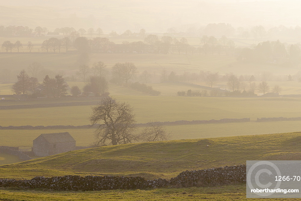 Dry stone walls and fields at Wharfedale from the Dales Way Footpath near Grassington Wharfedale Yorkshire Dales North Yorkshire