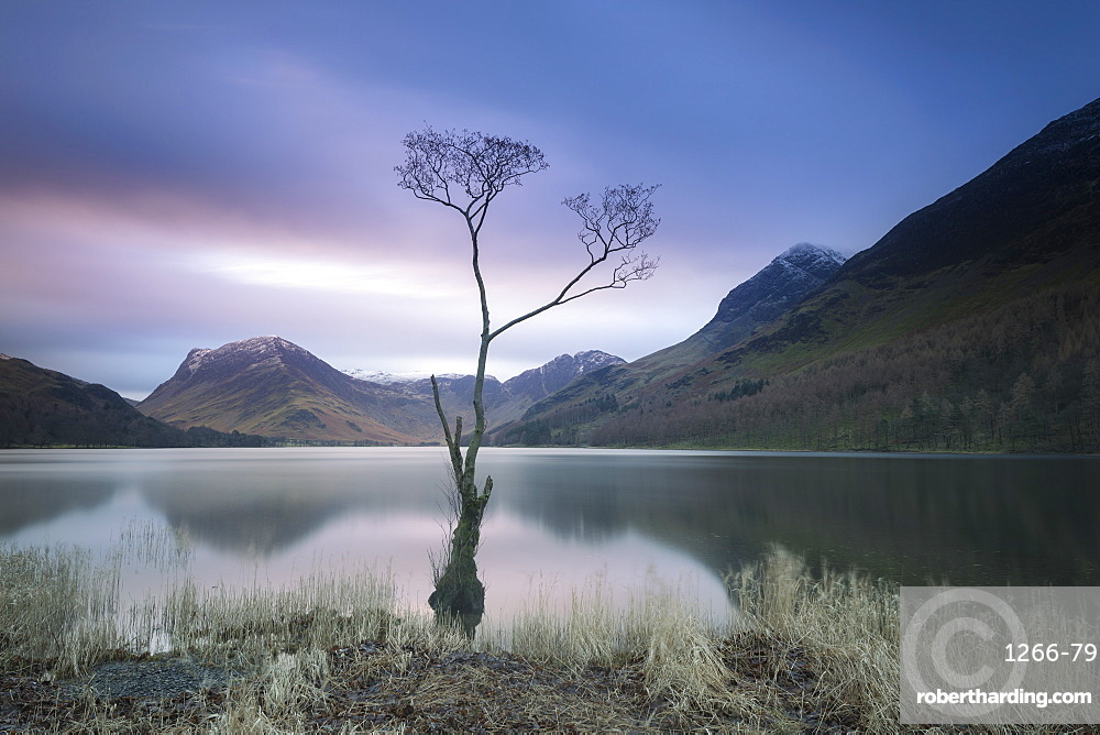 Long exposure image of view to Fleetwith Pike across Buttermere, Lake District National Park, UNESCO World Heritage Site, Cumbria, England, United Kingdom, Europe