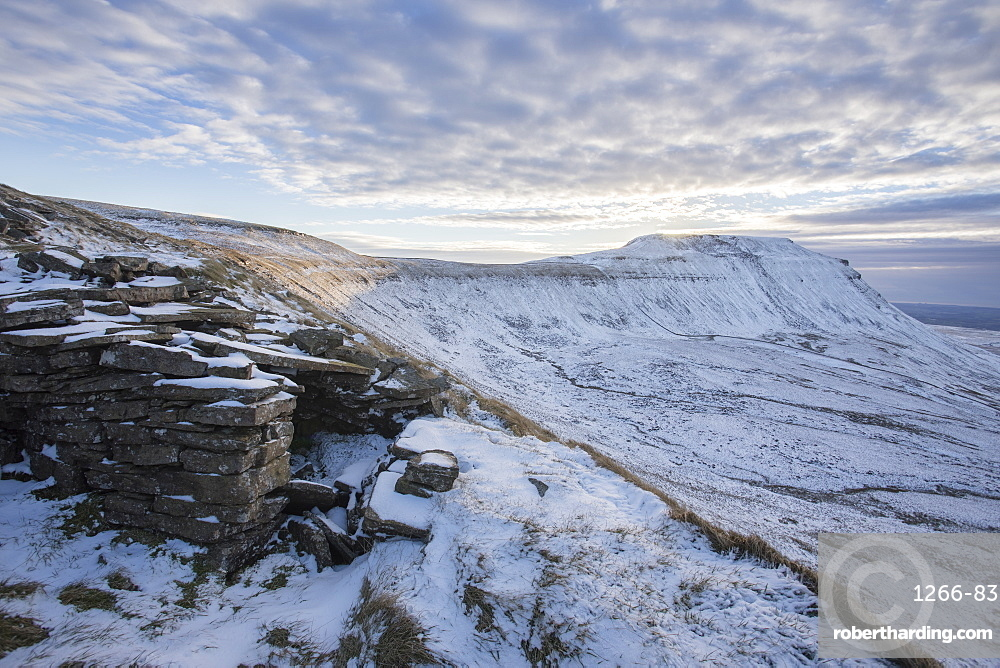 Snow covered Ingleborough Hill from Southerscales Fell, near Chapel-le-Dale, Yorkshire Dales National Park, North Yorkshire, Yorkshire, England, United Kingdom, Europe