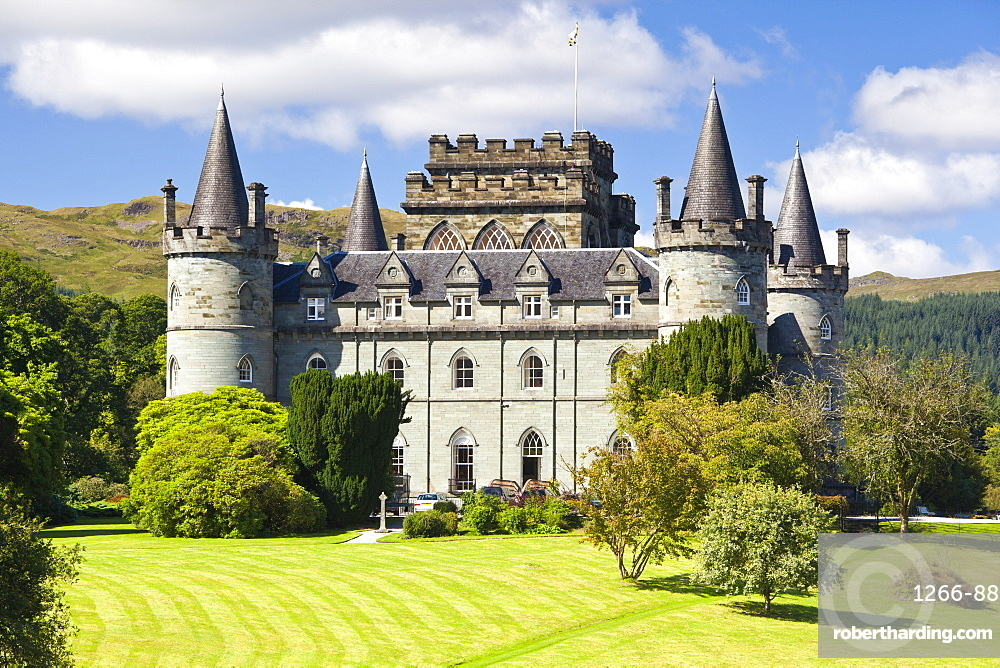 Inveraray Castle in summer sunshine at Inveraray, Argyll and Bute, Highlands, Scotland, United Kingdom, Europe