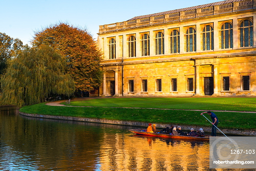 Punting on River Cam with Trinity College's Wren Library, Cambridge University, Cambridge, Cambridgeshire, England, United Kingdom, Europe