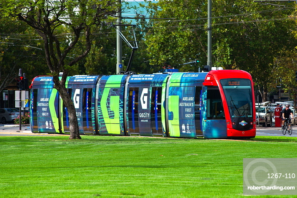 Trams at Victoria Square, Adelaide, South Australia