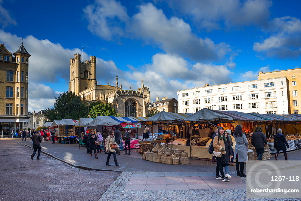 Market Square with Great St. Marys Church, Cambridge, Cambridgeshire, England, United Kingdom, Europe