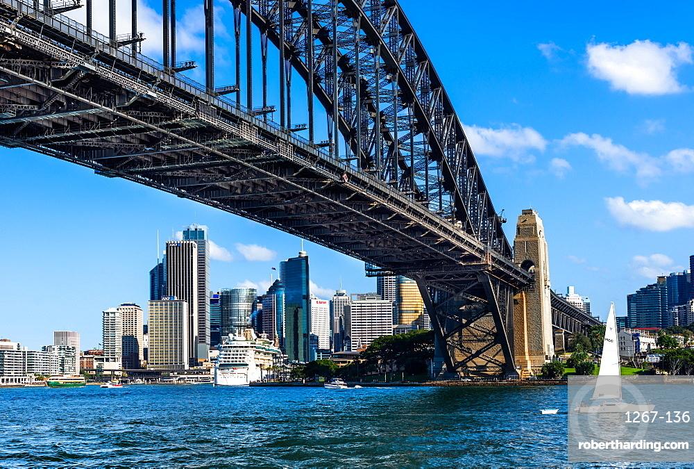 Sydney Harbour Bridge with city skyline. Sydney, New South Wales, Australia.