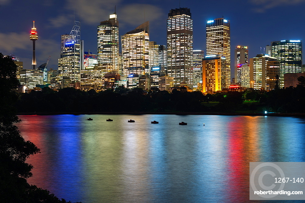 Views of Sydney city skyline after dark from Mrs Macquarie's Chair, Sydney, New South Wales, Australia, Pacific
