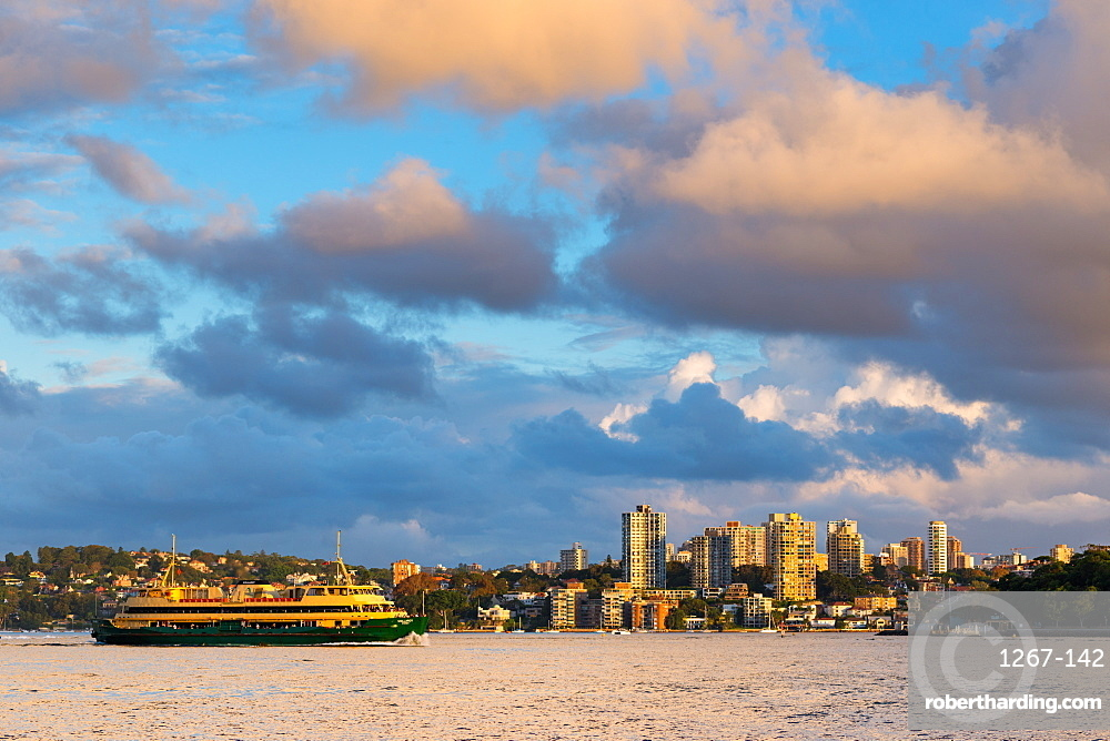A ferry in Sydney Harbour in evening light. New South Wales, Australia.