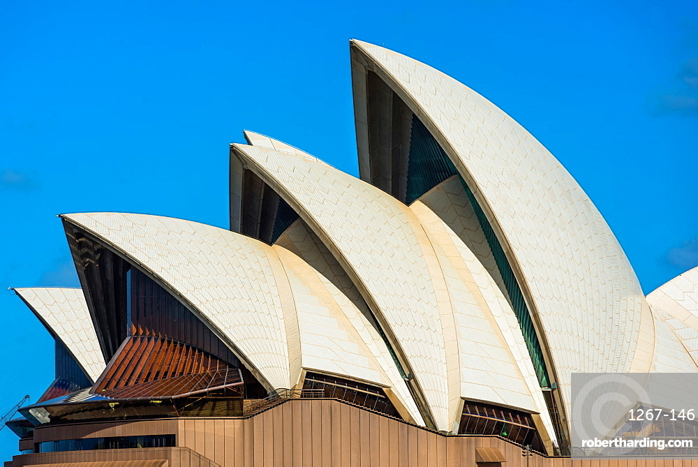 Close up detail of Sydney Opera house sails. New South Wales, Australia.