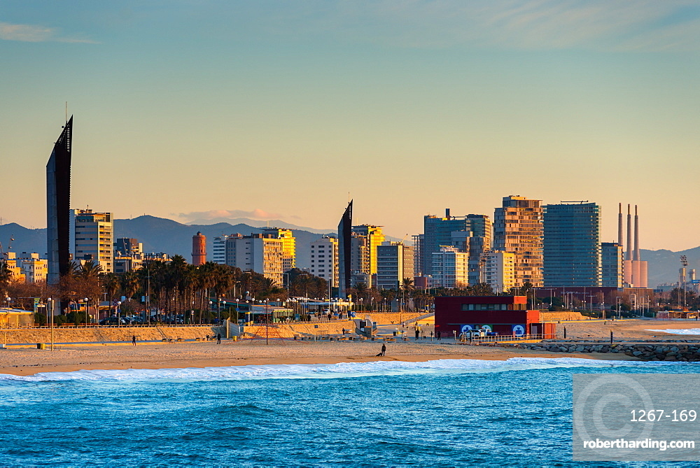Barcelona waterfront skyline and beach seen from the sea, Barcelona, Catalonia, Spain, Europe