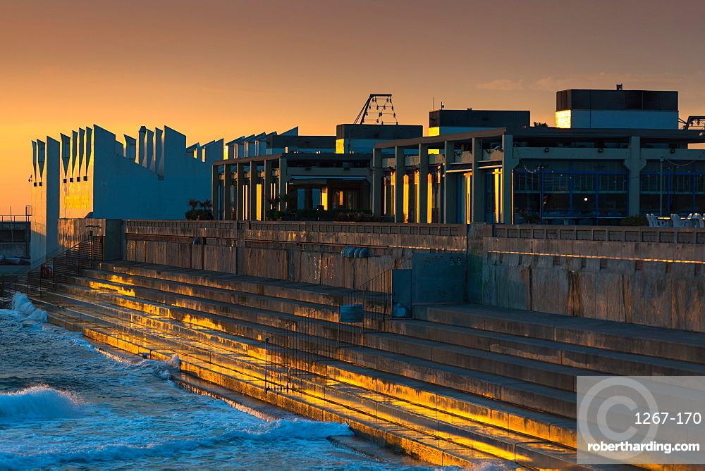 Centre Municipal de Vela at sunrise, Port Olimpic, Barcelona, Catalonia, Spain, Europe