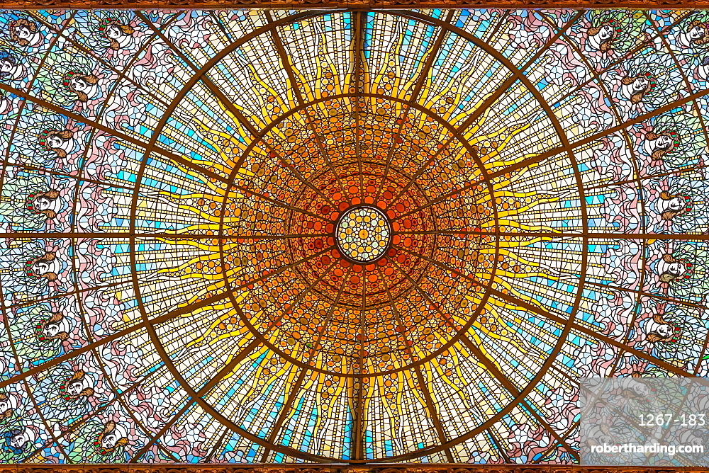 Stained glass skylight in Palace of Catalan Music (Palau de la Musica Catalana), Barcelona, Catalonia, Spain.