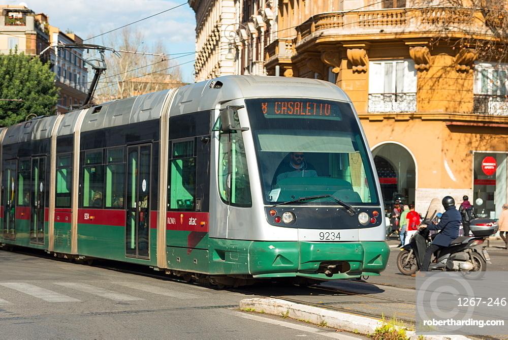 A modern tram on a Rome street, Rome, Lazio, Italy, Europe