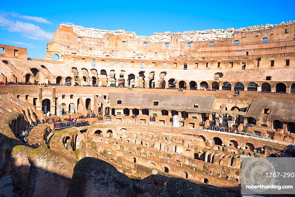 The Colosseum (Flavian Amphitheatre), with the below ground level hypogeum, UNESCO World Heritage Site, Rome, Lazio, Italy, Europe